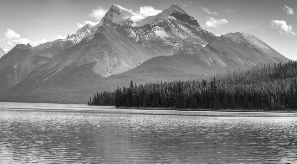 A black and white portrait of the Rocky Mountains in Alberta