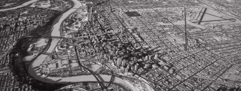 Ariel view of Calgary's city centre